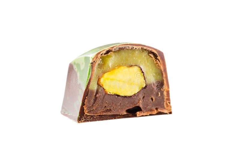 Καραμέλα σοκολάτας περικοπών με το καρύδι φυστικιών στοκ εικόνες με δικαίωμα ελεύθερης χρήσης