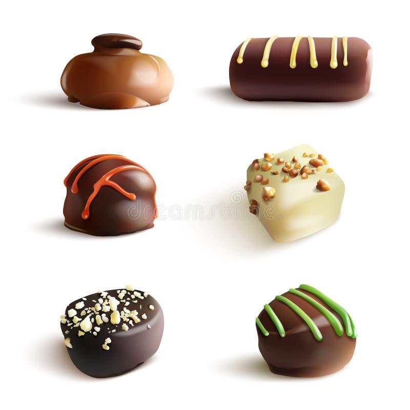 Καραμέλες σοκολάτας διανυσματική ρεαλιστική απεικόνιση Στο λευκό απεικόνιση αποθεμάτων
