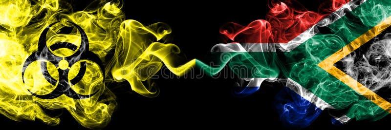 Καραντίνα στη Νότια Αφρική, Αφρική Coronavirus COVID- 19 κλείδωμα Φωτεινή μυστικιστική σημαία της Νότιας Αφρικής, αφρικανική με β διανυσματική απεικόνιση