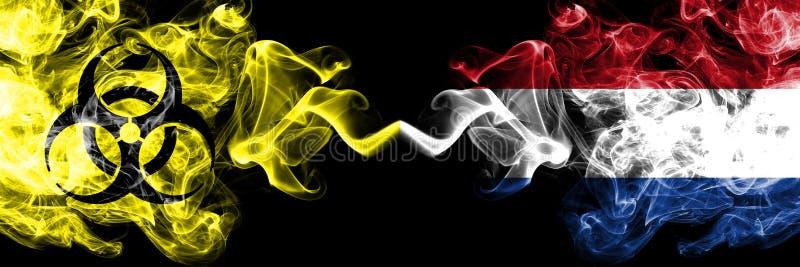 Καραντίνα στις Κάτω Χώρες, Ολλανδία Coronavirus COVID- 19 κλείδωμα Φωτεινή μυστική σημαία των Κάτω Χωρών, ολλανδική με σύμβολο βι ελεύθερη απεικόνιση δικαιώματος