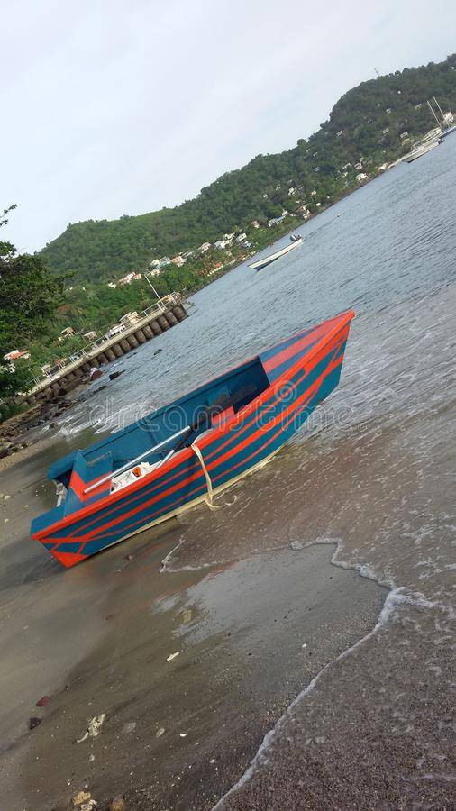 Καραϊβική παραλία μικρών βαρκών στοκ εικόνες