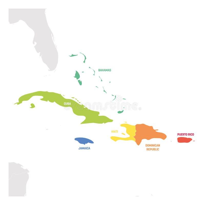 Καραϊβική περιοχή Ζωηρόχρωμος χάρτης των χωρών στην καραϊβική θάλασσα στην Κεντρική Αμερική επίσης corel σύρετε το διάνυσμα απεικ διανυσματική απεικόνιση