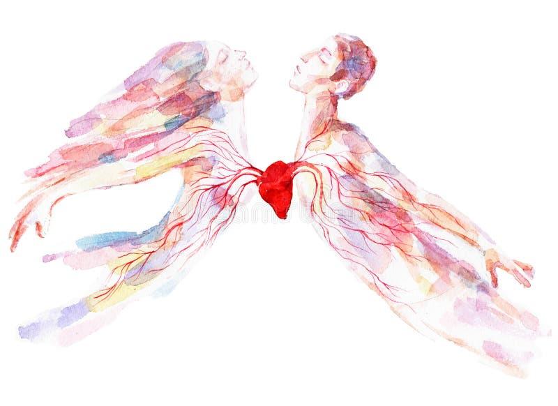 καρδιά ένα δύο διανυσματική απεικόνιση