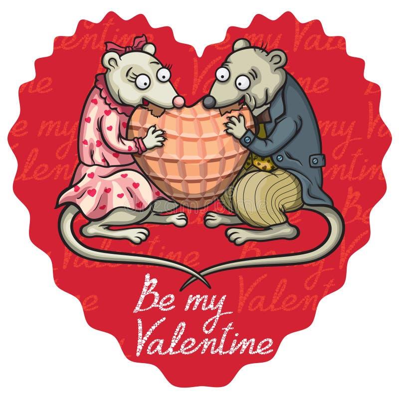 Καρδιά βαλεντίνων ποντικιών Enamored διανυσματική απεικόνιση