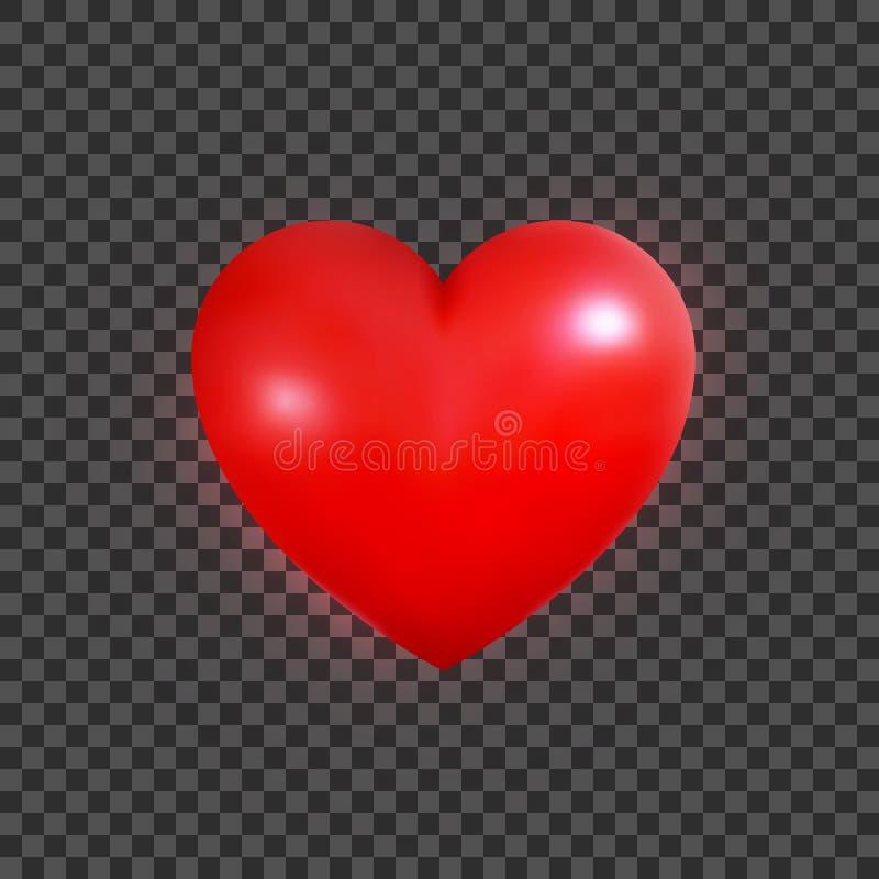 Καρδιά βαλεντίνων Ρεαλιστική τρισδιάστατη καρδιά για την ημέρα του βαλεντίνου Στιλπνή κόκκινη καρδιά ελεύθερη απεικόνιση δικαιώματος