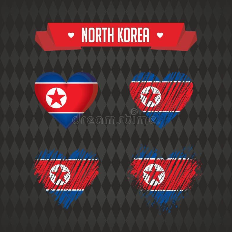Καρδιά Βόρεια Κορεών με τη σημαία μέσα Διανυσματικά γραφικά σύμβολα Grunge ελεύθερη απεικόνιση δικαιώματος