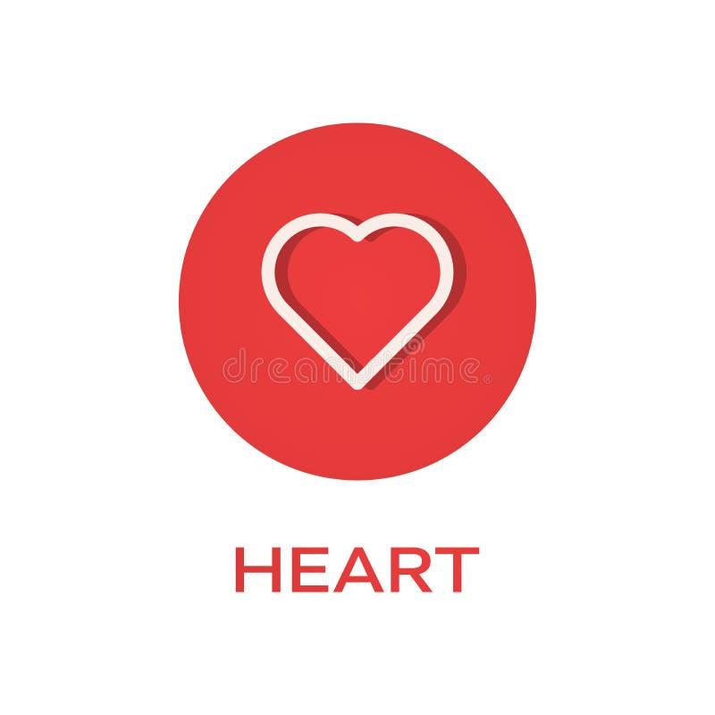 Καρδιά γύρω από το επίπεδο εικονίδιο ελεύθερη απεικόνιση δικαιώματος