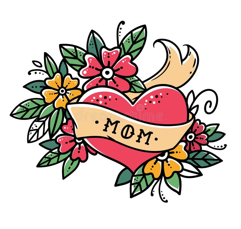 Καρδιά δερματοστιξιών με την κορδέλλα, τα λουλούδια και την αναδρομική διανυσματική απεικόνιση παλιού σχολείου λέξης MOM Αναδρομι διανυσματική απεικόνιση