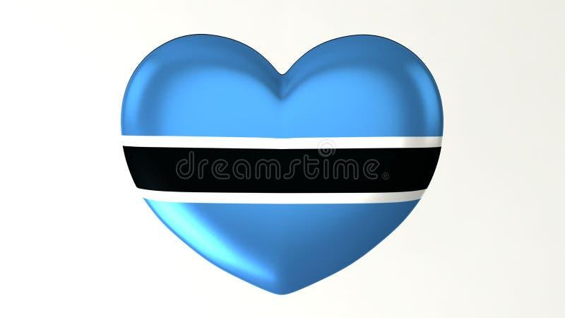 Καρδιά-διαμορφωμένη τρισδιάστατη απεικόνιση Ι αγάπη Μποτσουάνα σημαιών ελεύθερη απεικόνιση δικαιώματος