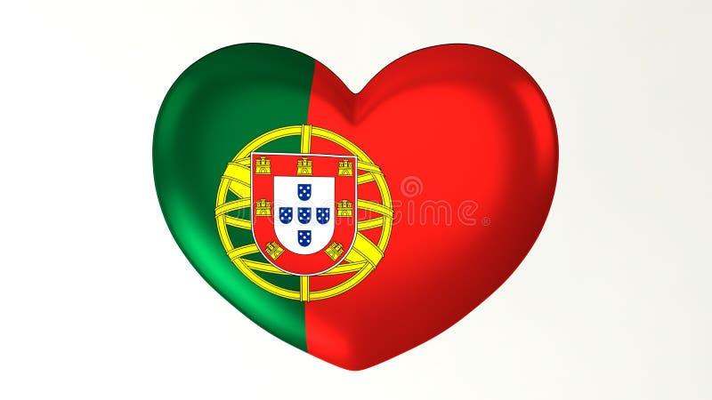 Καρδιά-διαμορφωμένη τρισδιάστατη απεικόνιση Ι αγάπη Πορτογαλία σημαιών ελεύθερη απεικόνιση δικαιώματος
