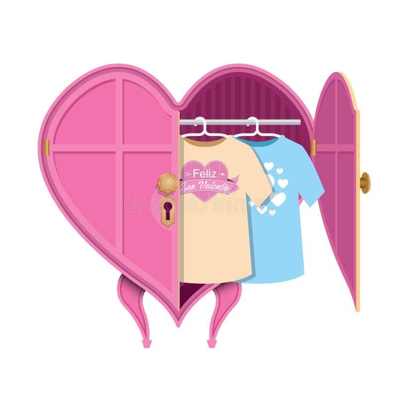 Καρδιά-διαμορφωμένο ροζ ντουλάπι ενδυμάτων με μια ανοιχτή πόρτα, μέσα υπάρχουν δύο πουκάμισα με το μήνυμα: Feliz SAN Valentin διανυσματική απεικόνιση