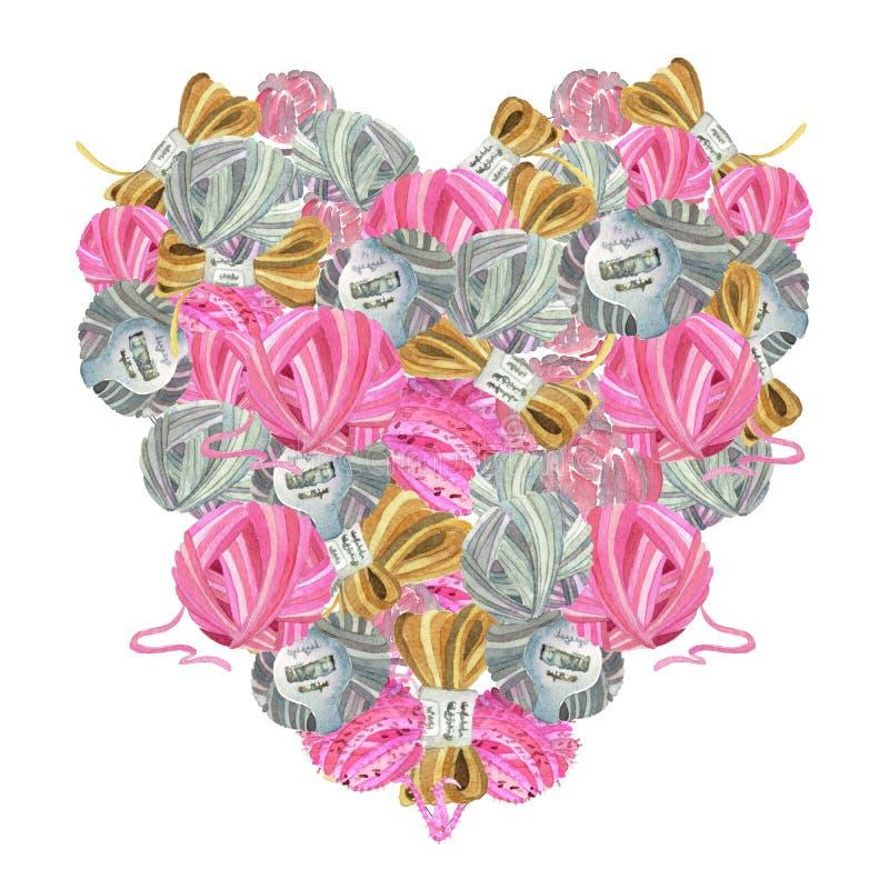 Καρδιά-διαμορφωμένο Watercolor εικονίδιο του πλεξίματος των εργαλείων στοκ φωτογραφία με δικαίωμα ελεύθερης χρήσης