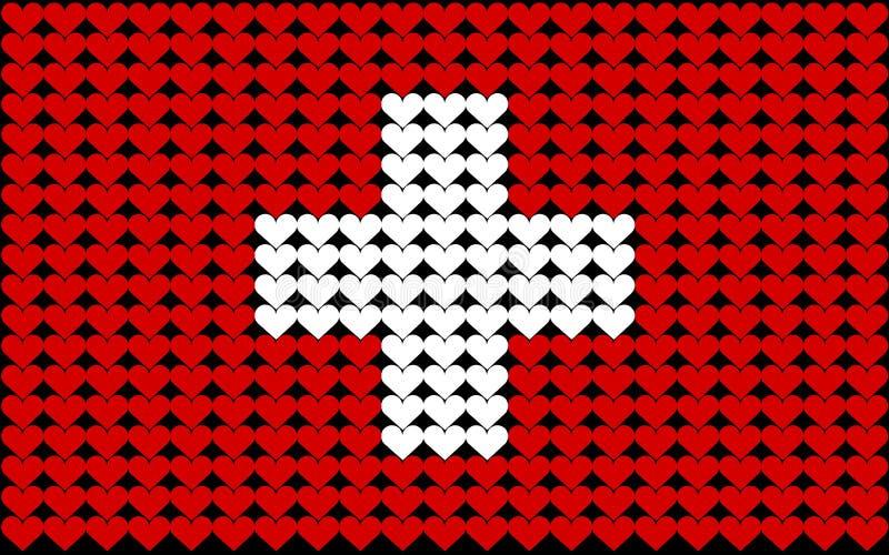 καρδιά Ελβετία σημαιών ελεύθερη απεικόνιση δικαιώματος