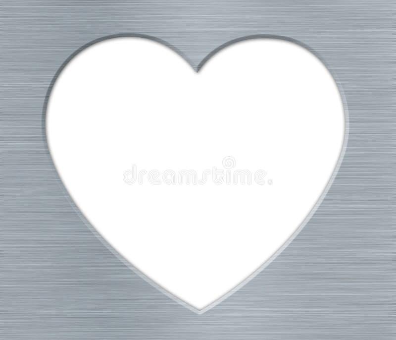 Καρδιά ημέρας βαλεντίνων με τη σύσταση μετάλλων στο λευκό απεικόνιση αποθεμάτων