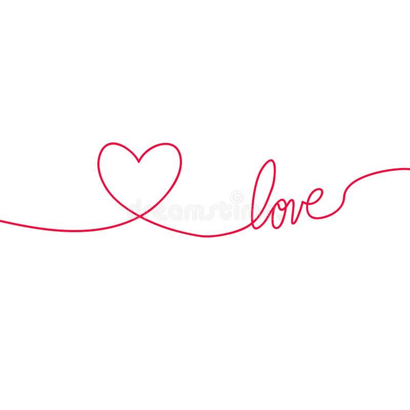 Καρδιά και αγάπη στις συνεχείς γραμμές σχεδίων σε ένα επίπεδο ύφος στις συνεχείς γραμμές σχεδίων Συνεχής μαύρη γραμμή Η εργασία διανυσματική απεικόνιση
