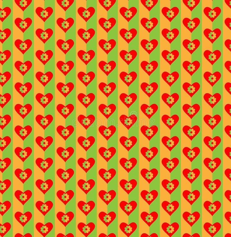 Καρδιά και λουλούδια στο φωτεινό ζωηρόχρωμο υπόβαθρο Άνευ ραφής πρότυπο για το σχέδιο επίσης corel σύρετε το διάνυσμα απεικόνισης απεικόνιση αποθεμάτων