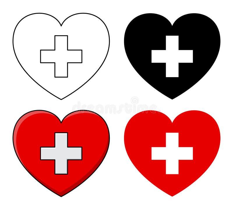 Καρδιά και σταυρός Διανυσματικό σχέδιο εικονιδίων υγειονομικής περίθαλψης που απομονώνεται στο μόριο ελεύθερη απεικόνιση δικαιώματος