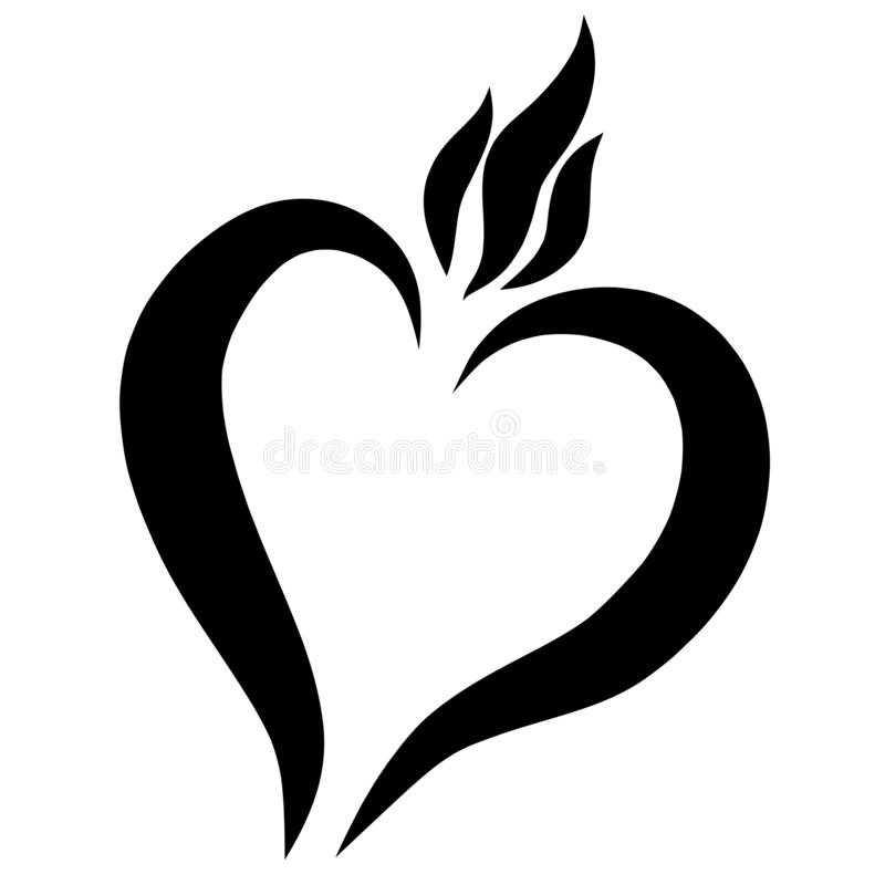 Καρδιά και φλόγα, αγάπη, αγαθό και πίστη, μαύρο σχέδιο διανυσματική απεικόνιση