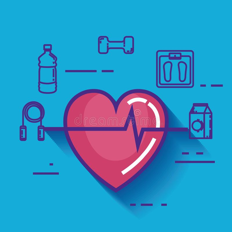 Καρδιά καρδιο με τα υγιή εικονίδια τρόπου ζωής διανυσματική απεικόνιση