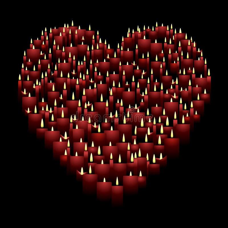 καρδιά κεριών διανυσματική απεικόνιση