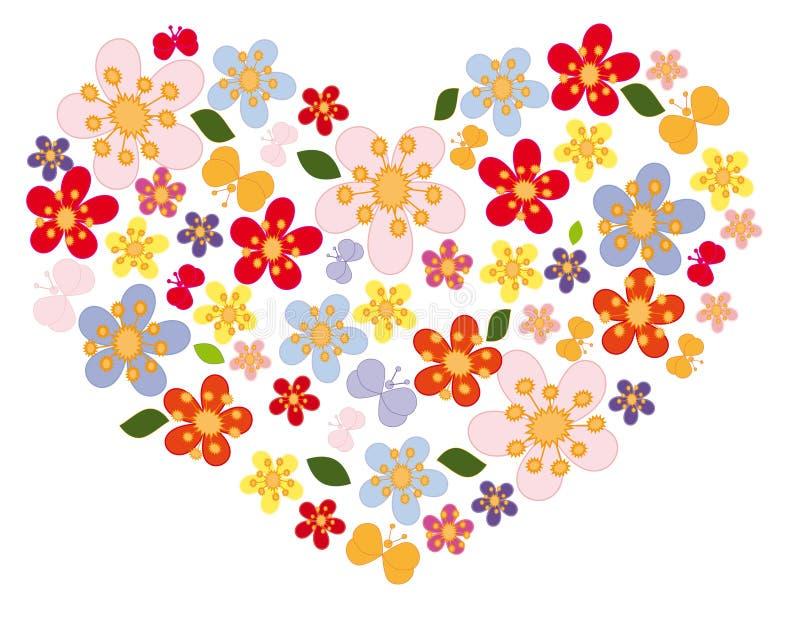 καρδιά λουλουδιών πετα ελεύθερη απεικόνιση δικαιώματος