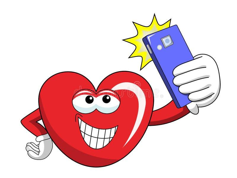 Καρδιά μασκότ κινούμενων σχεδίων που παίρνει selfie το smartphone που απομονώνεται διανυσματική απεικόνιση