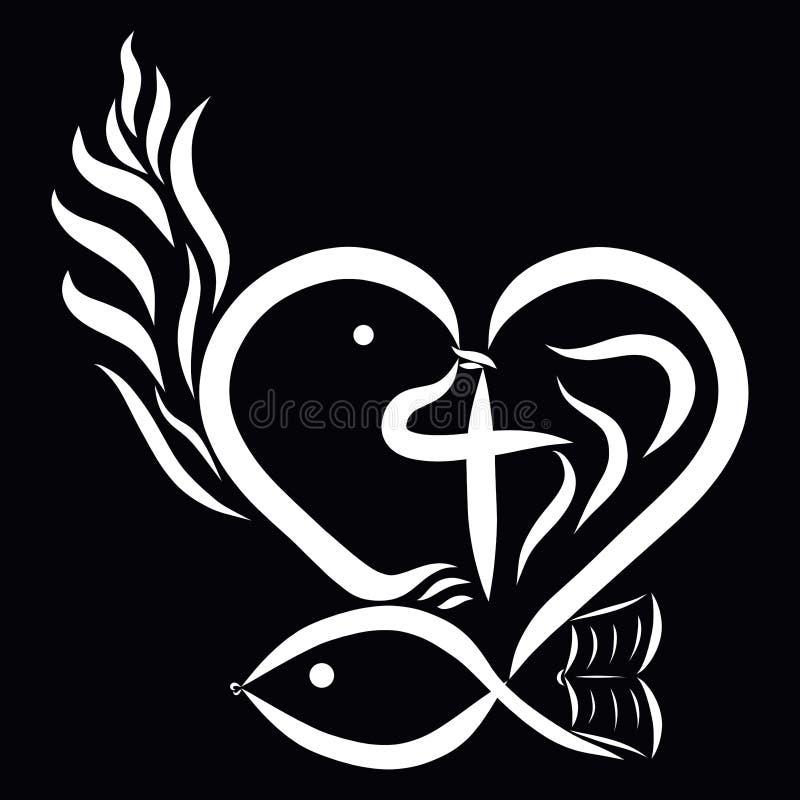 Καρδιά με ένα πουλί, έναν σταυρό, ψάρια, ένα βιβλίο και μια φλόγα, η αφηρημένη Christi διανυσματική απεικόνιση