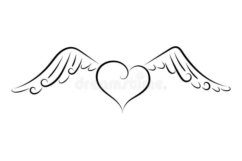 Καρδιά με τα φτερά ελεύθερη απεικόνιση δικαιώματος