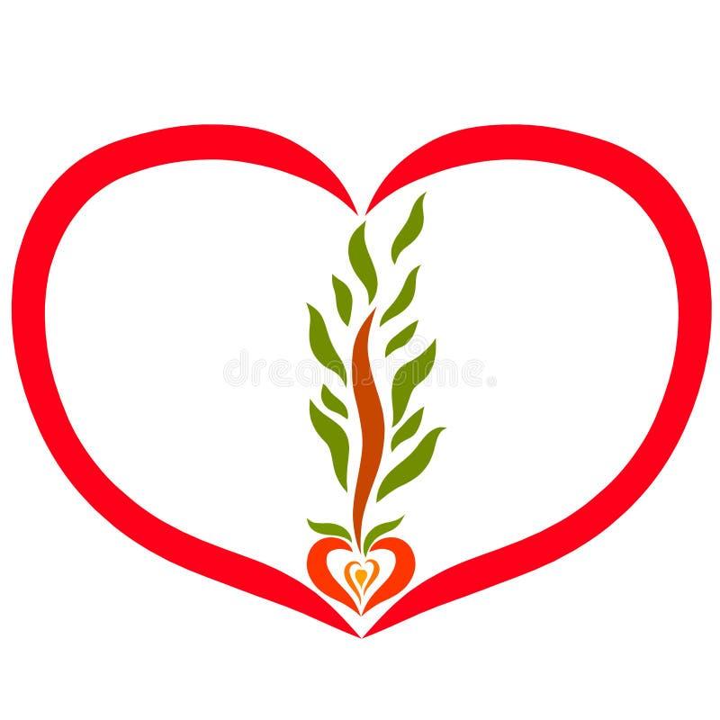 Καρδιά με την ανάπτυξη δέντρων από το σπόρο απεικόνιση αποθεμάτων
