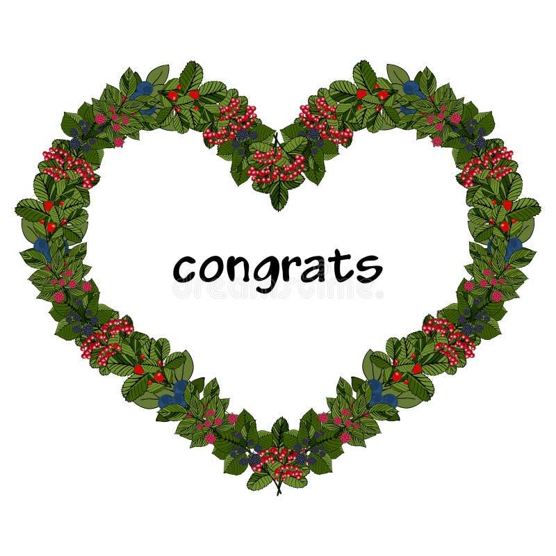 Καρδιά με τη φράουλα, σμέουρο, κεράσι, βατόμουρο, μαύρη και κόκκινη σταφίδα, βακκίνιο με τα φύλλα απεικόνιση αποθεμάτων