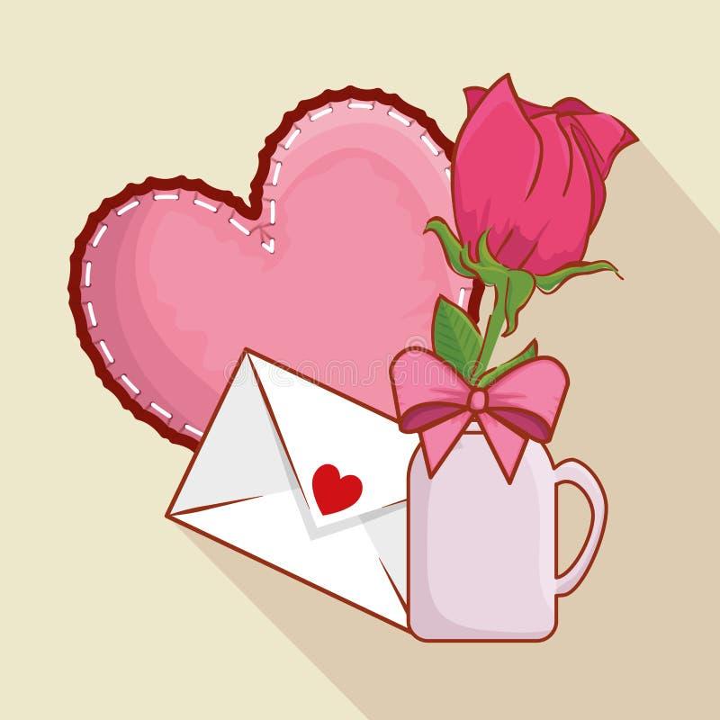 Καρδιά με τις ροδαλές εγκαταστάσεις μέσα στο βάζο και την κάρτα αγάπης ελεύθερη απεικόνιση δικαιώματος