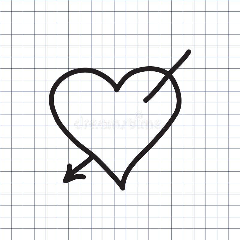 Καρδιά με το βέλος αγάπης ελεύθερη απεικόνιση δικαιώματος