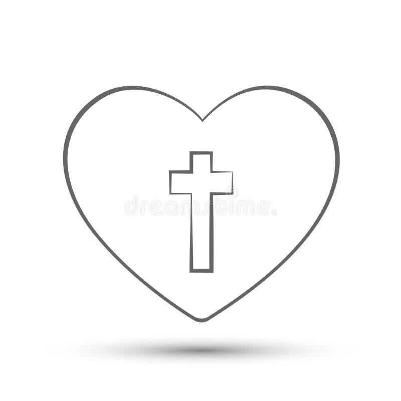 Καρδιά με το διαγώνιο σύμβολο εικονιδίων λογότυπων τέχνης γραμμών εκκλησιών αγάπης στο άσπρο υπόβαθρο ελεύθερη απεικόνιση δικαιώματος