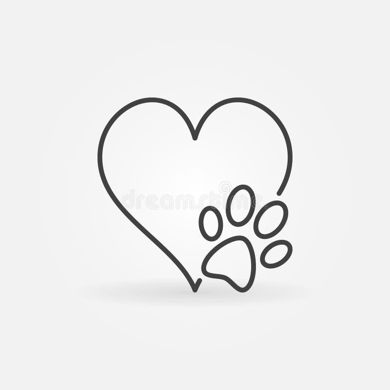 Καρδιά με το διανυσματικό εικονίδιο ποδιών σκυλιών διανυσματική απεικόνιση
