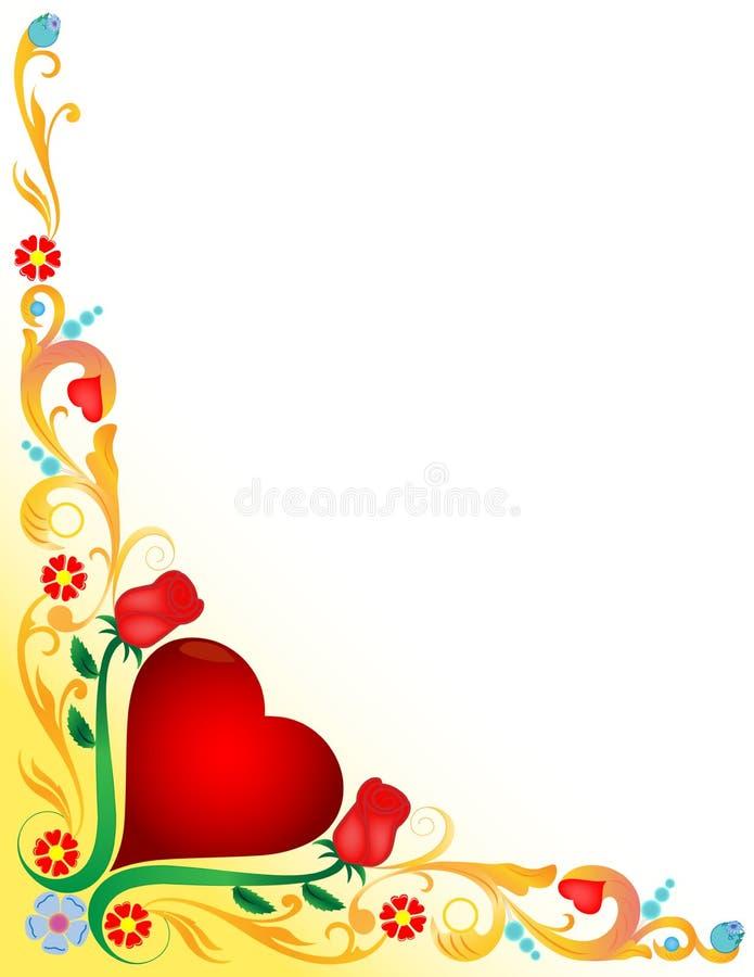 Καρδιά με floral περίκομψο διανυσματική απεικόνιση