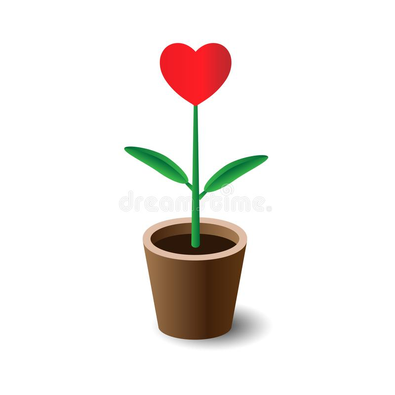 Καρδιά που ανθίζει στο καφετί δοχείο δέντρων στοκ εικόνες