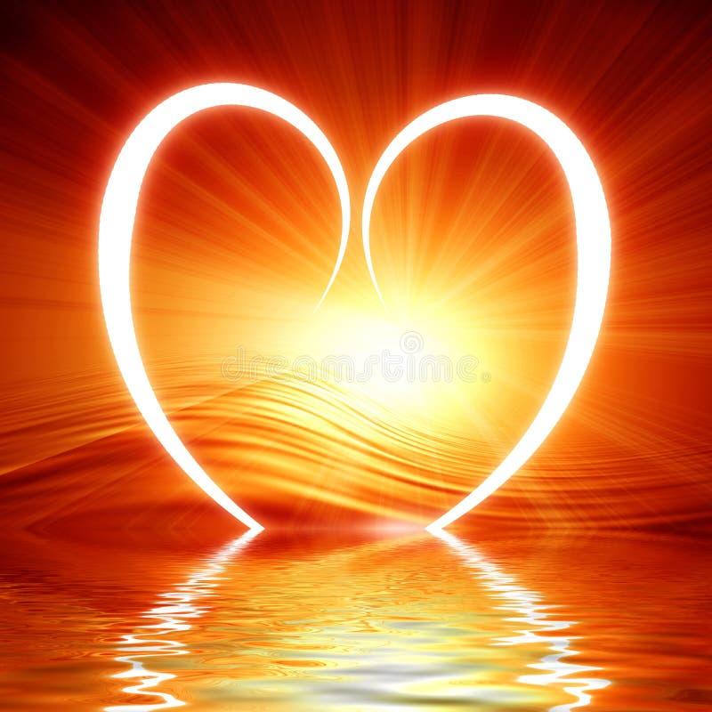 Καρδιά που απεικονίζεται στα κύματα απεικόνιση αποθεμάτων