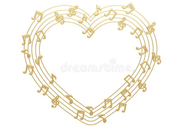 Καρδιά που γίνεται με τις χρυσές μουσικές νότες τρισδιάστατη απεικόνιση ελεύθερη απεικόνιση δικαιώματος