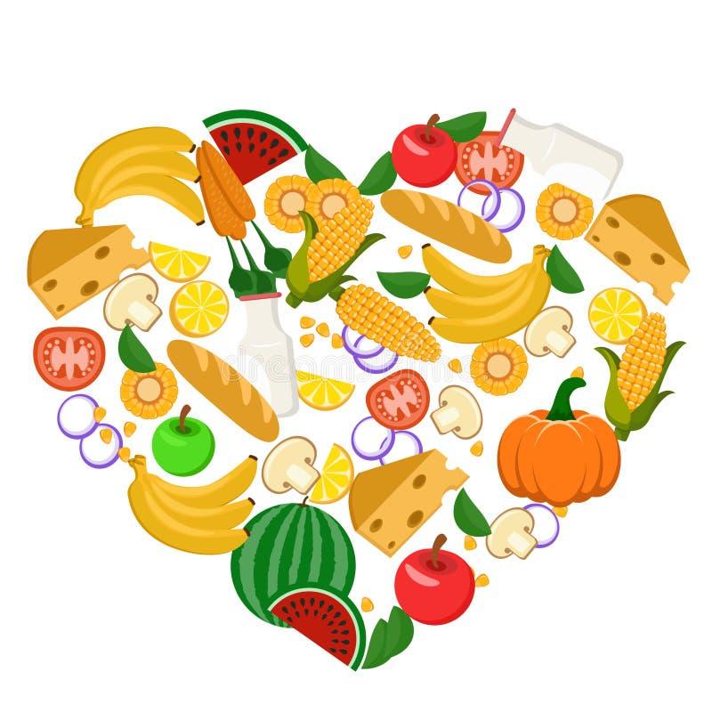 Καρδιά που ευθυγραμμίζεται με τα λαχανικά, τα φρούτα, το ψωμί και το γάλα σιτηρέσιο υγιεινό απεικόνιση αποθεμάτων