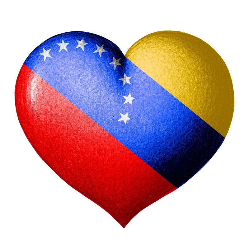 Καρδιά σημαιών της Βενεζουέλας η ανασκόπηση απομόνωσε το λευκό ελεύθερη απεικόνιση δικαιώματος