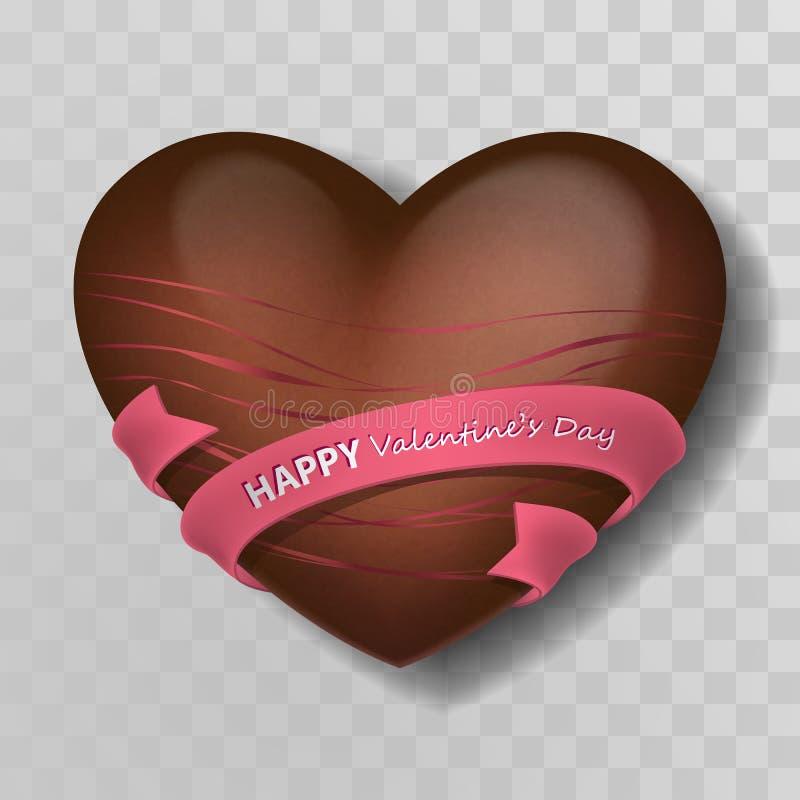 Καρδιά σοκολάτας με το ρόδινο ντεκόρ, τις λουρίδες και τη ρόδινη κορδέλλα με το ασήμι που γράφει την ευτυχή ημέρα βαλεντίνων Καρδ στοκ εικόνα