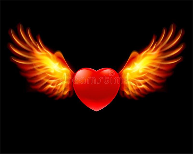 Καρδιά στα φλογερά φτερά ελεύθερη απεικόνιση δικαιώματος