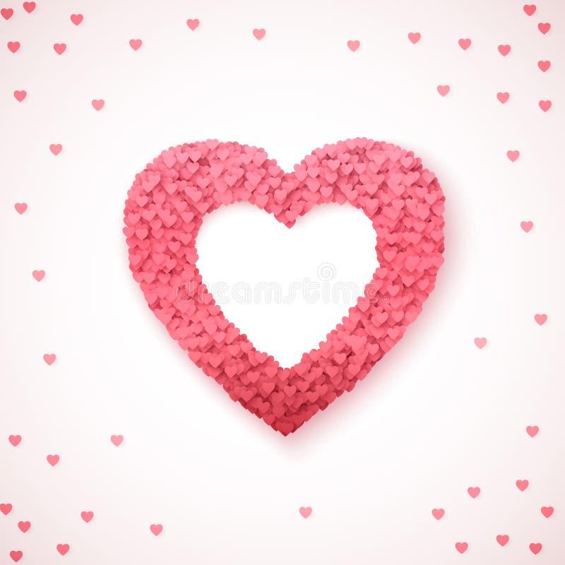 Καρδιά - σύμβολο της αγάπης Οι μειωμένες καρδιές διαμορφώνουν μια μορφή καρδιών Ρομαντικό πρότυπο υποβάθρου βαλεντίνων επίσης cor ελεύθερη απεικόνιση δικαιώματος