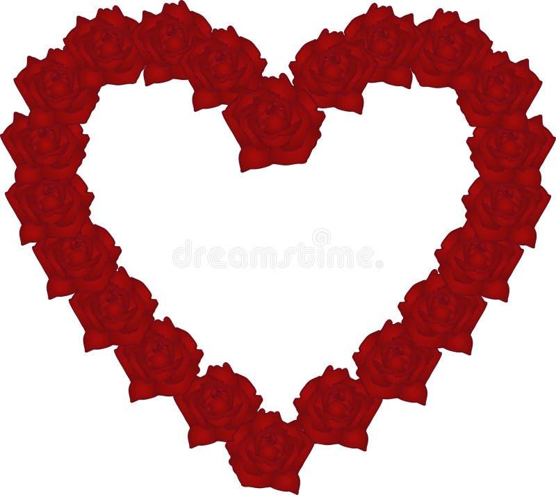 καρδιά τα κόκκινα τριαντάφ&ups διανυσματική απεικόνιση