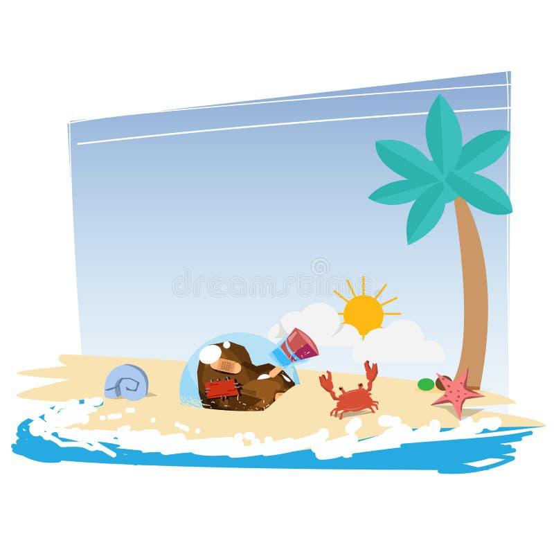 Καρδιά της αγάπης στο μπουκάλι γυαλιού στην παραλία μόνος ενιαίος, περιμένετε διανυσματική απεικόνιση