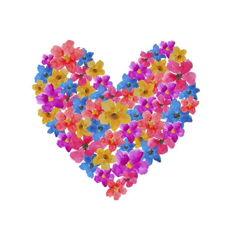 Καρδιά της πρόσκλησης συγχαρητηρίων βαλεντίνων καρτών απεικόνισης watercolor λουλουδιών ελεύθερη απεικόνιση δικαιώματος
