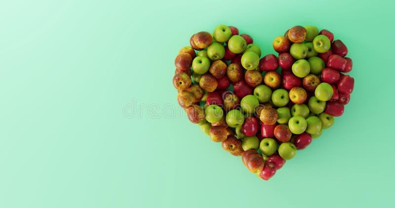 Καρδιά της Apple  υγιής και καλή έννοια τροφίμων απεικόνιση αποθεμάτων