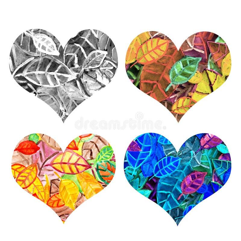 Καρδιά των φύλλων διανυσματική απεικόνιση