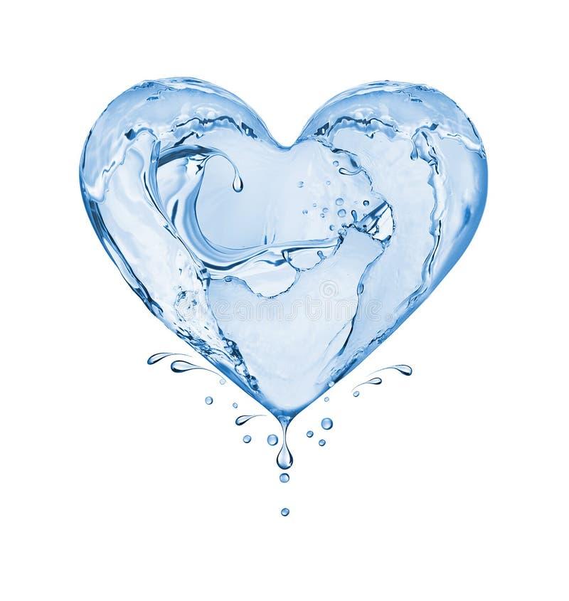 Καρδιά φιαγμένη από παφλασμούς νερού που απομονώνονται στο άσπρο υπόβαθρο στοκ εικόνα
