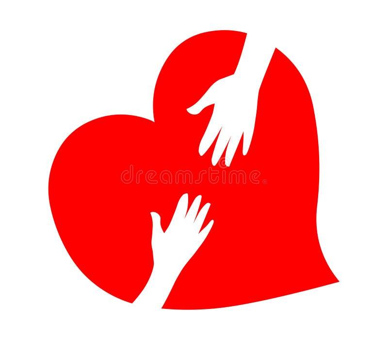 Καρδιά φροντίδας Καρδιά και διάνυσμα χεριών βοήθεια χεριών απεικόνιση αποθεμάτων
